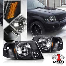 Black Housing Headlight Amber Corner Signal Reflector for 02-05 Ford Explorer