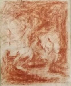 Dutch? French? Antique OLD MASTER DRAWING Sanguine Crayon- Peasants in Woodlands