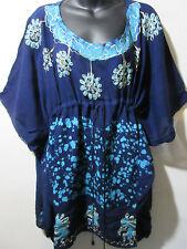 Top fits XL 1X 2X PLUS Blue Batik Art Drawstring Long Tunic Caftan NWT J534