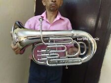 EUPHONIUM 4 VALVE MADE OF PURE BRASS IN CHROME POLISH WITH FREE CASE & MOUTHPC.
