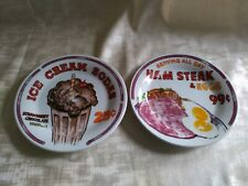 "Oneidacraft SUNRISE DINER Stoneware Dessert Plates 7"" Set of 2 Retro"