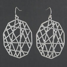 Silver Unique Design Pattern Drop Dangle Style Earrings