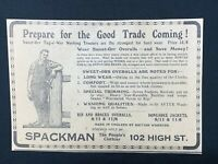 1926 Newspaper Clipping SPACKMAN CLOTHIERS, HIGH ST. BELFAST, SWEET-ORR OVERALLS