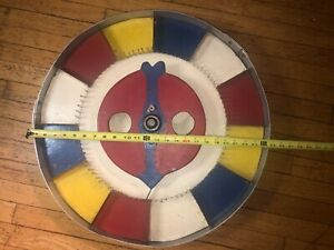 """Vintage 1950s Carnival Color GAMING WHEEL of Chance 24 """" diameter with Stand"""