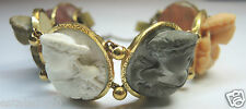 "Victorian Lava High Relief Cameo Bracelet 71/4"" 66.8 grams Vintage Estate RARE"
