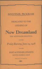 1928 NEW DREAMLAND Boxing BoAuditorium, SF, Opening Pgm