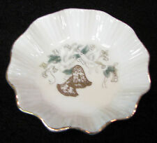 3 in Lefton Japan hand painted scalloped dish white doves gold bells & trim #134