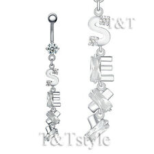Belly Bar Ring Bl57A T&T Clear Cz Sexy Dangle