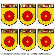 LANCASHIRE Red Rose of Lancaster Shield Mobile Cell Phone Mini Sticker, Decal x6