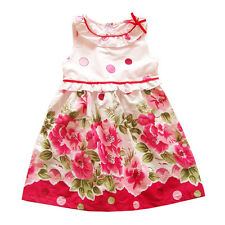 New Girls Pink Floral Summer Party Dress 5-6 Years