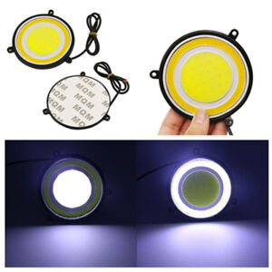 2PCS O-ring COB White LED Car Driving Light DRL Lamp Accessories 12V Waterproof
