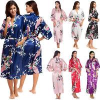 Women Floral Silk Satin Kimono Robe Night Dressing Gown Bathrobe Loose Sleepwear