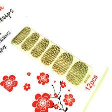 Honeycomb Decoration Nail Polish Strips Glitter Fit All Nails Art Gold Nature