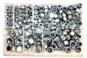 Assorted Box of QTY 400 Nylon Insert Nuts Metric M5 M6 M8 M10 M12 M14 Nyloc AT18