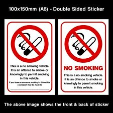 No Smoking Double Sided Window Sticker / Sign - 100x150mm. Car, Taxi, Van, Lorry