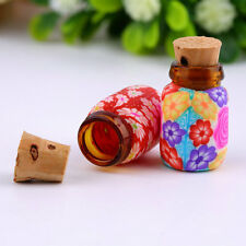 10 pcs Mini Glass Polymer Clay Bottles Containers Vials With Corks ~D