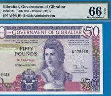 GIBRALTAR-50 POUNDS-1986-HIGHEST DENOMINATION-PICK 24 **PMG 66 EPQ GEM UNC**