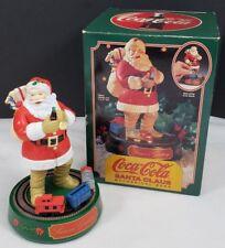 "Coca-Cola Santa Claus Operating Mechanical Coin Bank Train 7-1/2"" Tall Metal"