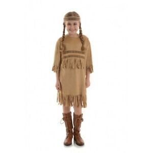 Indian Girl Native American Costume Long Fancy Dress Dance Regalia Child Sm-XL