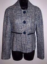 Mac & Jac Size Small Womens Blue on White Jacket with Waist Zip