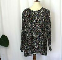 j.jill sz M Floral multicolor long sleeve boatneck long sleeve rayon top blouse
