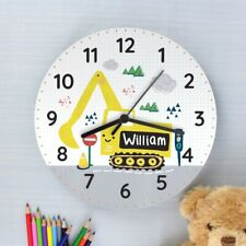 Children's Personalised Boys Digger White Wooden Bedroom Clock - Add Any Name
