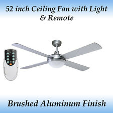 Genesis 52 inch (1300mm) Brushed Aluminum Ceiling Fan with Light and Remote