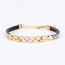 Gold Plated Black Leather Amethyst White Topaz Gemstone Charm Bracelet For Women