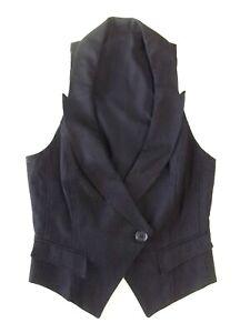 Lovely Ladies waistcoat Size 12 Topshop Black Striped Xfront Collar Good XmasVR1