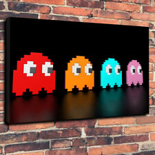 "Contemporary Modern Pacman Printed Box Canvas Picture A1.30""x20"" 30mm"