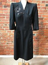 Vintage 1940's Black Wool Dress leather Aapplique 3/4 sleeve Couture Movie Star