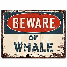 Pp1831 Beware of Whale Plate Rustic Chic Sign Home Store Wall Decor Gift