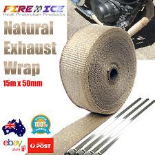 Exhaust Wrap Motorbike Motorcycle Bike Natural Tan 15m x 50mm Harley Heat Wrap