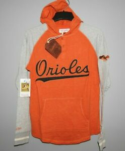 Mitchell & Ness Baltimore Orioles Slugfest Lightweight Hoody New Mens Size $70