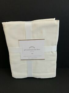"POTTERY BARN Essential Bed Skirt FULL Cotton Linen 14"" Drop Natural Cream NWT"