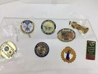 Vintage Free Mason MASONIC LAPEL PINS ~ DELAWARE ~ Lot of 8 Different Ones