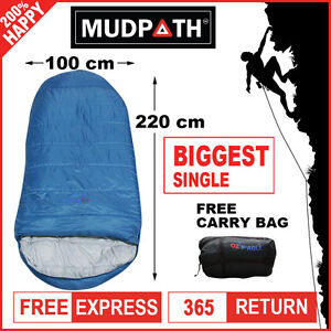OzEagle Camping King Sleeping Bag XXL Outdoor Winter -15°C 220x100cm Ocean Blue