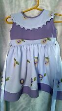 Happy  Rabbit purple floral girl with ribbon to tie on back very pretty 12 Mos