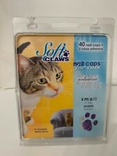 New 40 Soft Claws Nail Caps for Cats Clear Small Purple 6-8 lbs cats