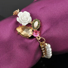 Vintage Gold Tone Charm Women Fashion Rhinestone Rose Pearl Crystal Bracelet