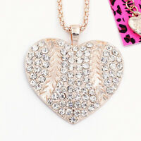 Betsey Johnson Clear Rhinestone Love Heart Pendant Sweater Chain Necklace Gift
