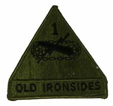 US Army 1st First Armored Division AD Old Ironsides Patch Veteran OD Green