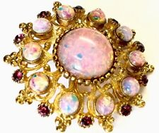 Vintages Gold Tone / Plated Faux Opal & Amethyst Paste Brooch