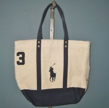NWT Polo Ralph Lauren Natural/Navy Big Pony Zip Cotton Canvas Tote Bag - Unisex