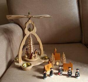 Erzgebirge Nativity Windmill Pyramid & Carol Singers Wooden Figures ~ Vintage