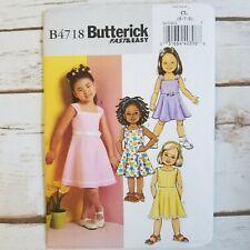 Butterick 4718 Sewing Pattern Little Girls Dress Size 6 7 8