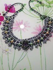 "Necklace handmade beaded 18"" blue, grey, multi colour beads"
