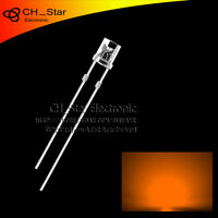 100PCS 3mm Flat Top Orange Amber Light LED Diodes Wide Angle Water Clear