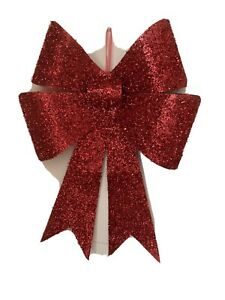 Christmas Xmas Large Bow Red Tinsel Sparkly 35 cm W 47 cm H Hanging Decoration