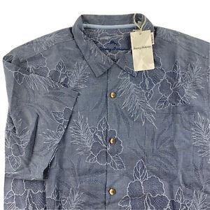 Tommy Bahama Camp Shirt Oceanside Tropics Dockside Blue 100% Silk T321441 XXL